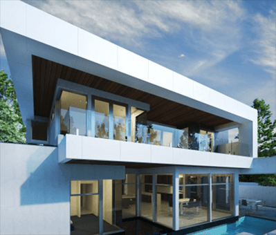 Sleek modern home designed by building designer in Adelaide. Large glass windows, with pool, white and grey colour.